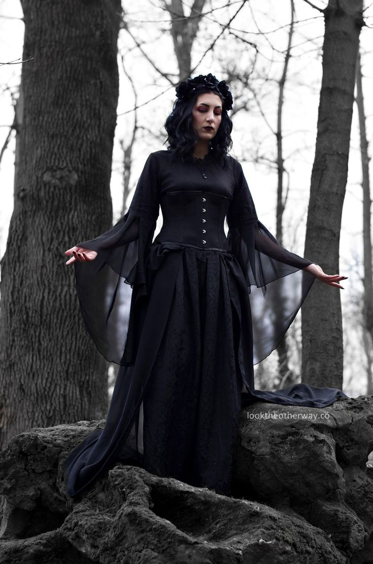 Woods to Conjure - Style Suggestions - Looktheotherway.co  #gothic #witch #witchcraft #witcherystyle #gothicbeauty #gothgirl #witchy #romaniangoth #gothfashion