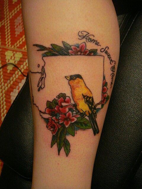 Washington state flower and bird tattoo <3
