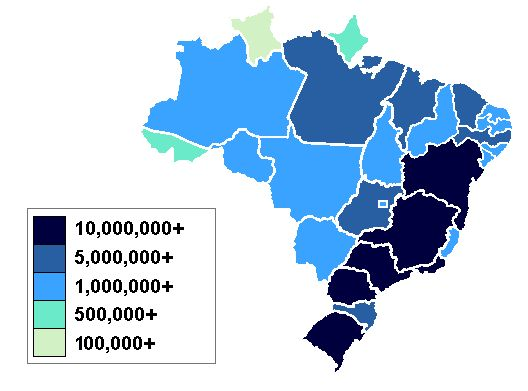 Best Maps Of South America Images On Pinterest South America - Brazil population map