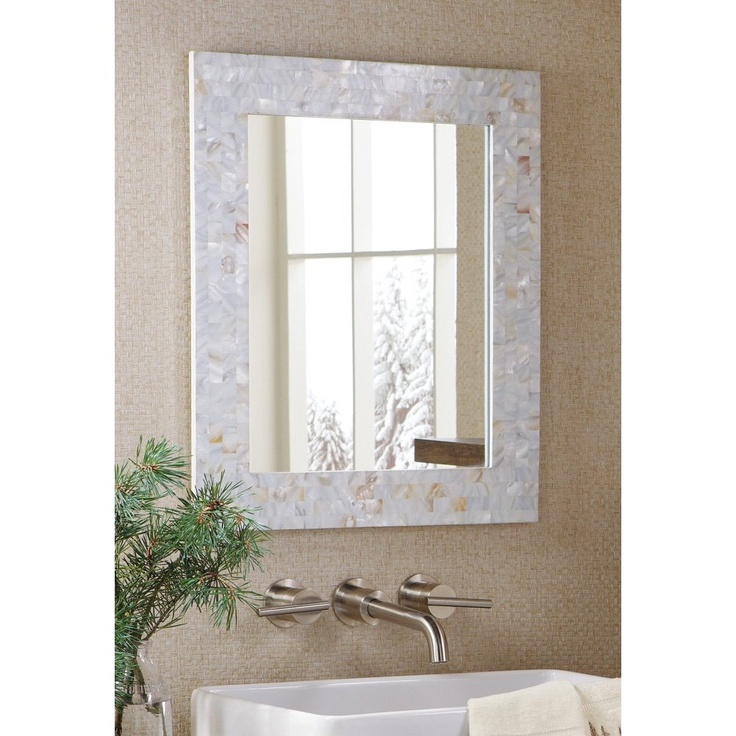 Delightful Mother Of Pearl Mosiac Tiles Accent Mirror White Bathroom Wall Foyer Hall