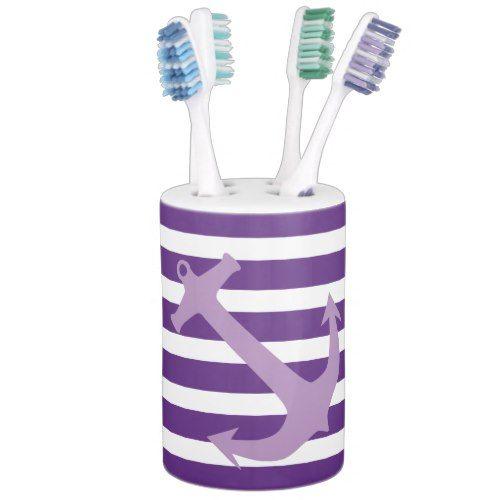 Purple Nautical Anchor Bathroom Accessory Set