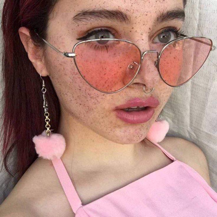 pink cat eyes sunglasses boogzel apparel