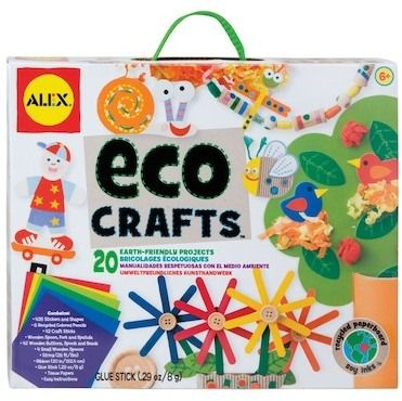 ALEX TOYS Eco Crafts Create 20 easy earth-friendly crafts with recycled stickers, papers and pencils. Just layer and stick to make animals, puppets and jewelry.Includes 428 stickers and shapes, 6 recycled colored pencils, craft sticks, wooden spoons, fork and spatula, wooden buttons, spools and beads, string, ribbon, glue stick, tissue papers and easy instructions. $14.97