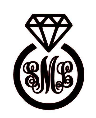 Engagement Ring Monogram Vinyl Decal - Home - Auto - Laptops - apply anywhere #Traditional