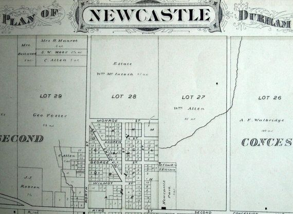 1878 Large Rare Vintage Map of Newcastle Ontario Canada