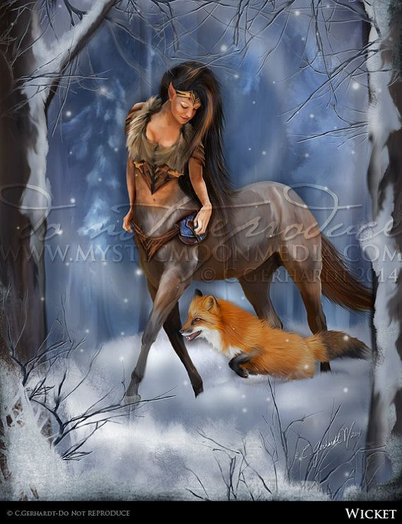 Wicket... Matted Print...Woman Centaur Tracker by mysticmoonmedia