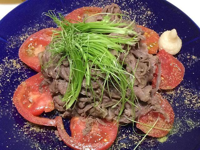 #仙台牛#和牛#牛肉#肉#トマト#芽葱#山葵塩#山椒#レフォール#自作#おうちごはん#男料理#sendaibeef#wagyu#beef#meat#tomato#greenonionshoots#wasabi#homemade#good#instafood#gourmet#delicious#love#mancooking#food#foodie#foodporn#foodgasm
