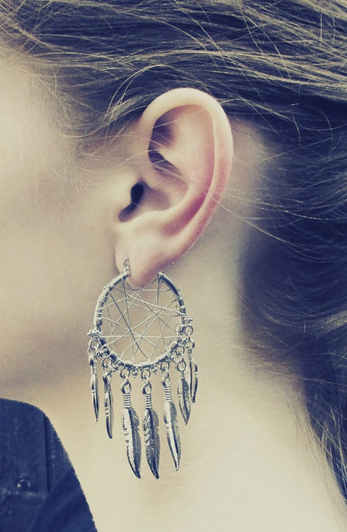 Dreamcatcher Earrings.. They're like actual dreamcatchers, not just dangling on the end of an earring, i love it