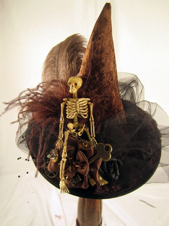 Steampunk Brown MINI Witch Hat with Clock parts , Keys & Skeleton