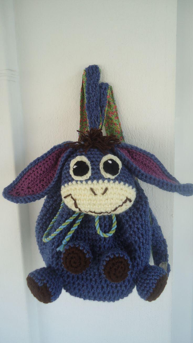 donkey toddler women handmade crochet backbag colourful textile lining adjustable straps bag made to order facebook/toucanbeanies