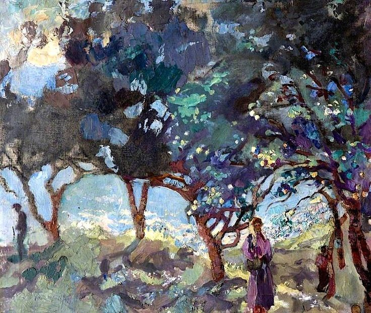 Mediterranean Scene with Olive Trees and Figures by the Sea by Duncan Grant