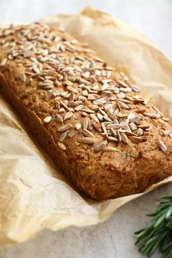 Butternut Squash Rosemary Bread (gluten-free & vegan) 200g butternut squash, grated (2 cups) 1 garlic clove, crashed 140g buckwheat flour (1 cup) 100g ground almonds (1 cup) 2tbsp ground flaxseed 1tsp baking powder 1tsp bicarbonate of soda 1tsp sea salt 1tsp oregano 1tbsp chopped fresh rosemary 35g sunflower seeds (1/4 cup) 80ml olive oil (1/3 cup) 1tbsp apple cider vinegar 120ml almond milk (1/2 cup) extra sunflower seeds for topping