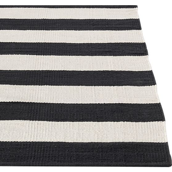 Broad Bands Of Black And Ivory Stretch Horizontally Across This Modern And  Sophisticated Cotton Rug Hand Loomed By Artisans Skilled In Flat Weave ...