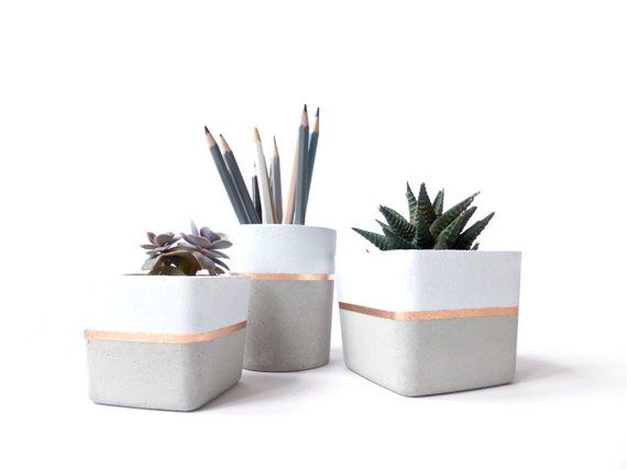 Square Concrete Planter for Succulent Grey White Black Industrial Home Decor