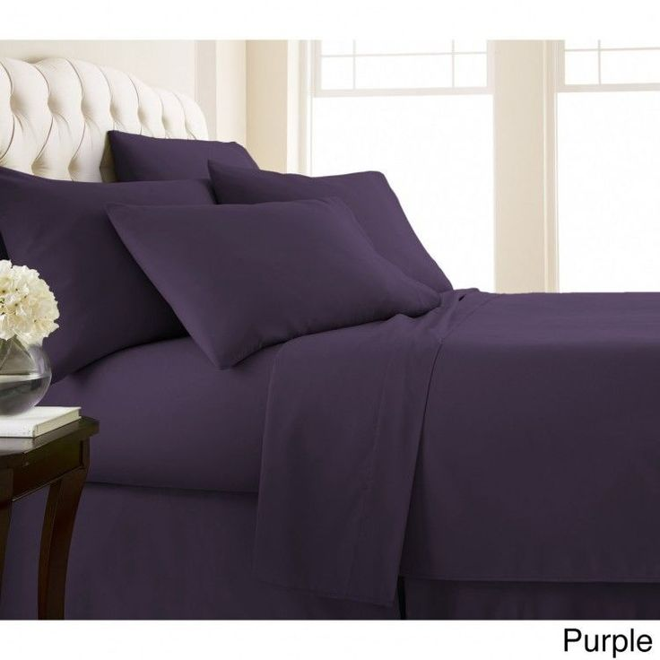 King 6-piece Sheet Set Extra Deep Pocket Flat Fitted Sheets Pillow Case Purple  #Southshore #Contemporary