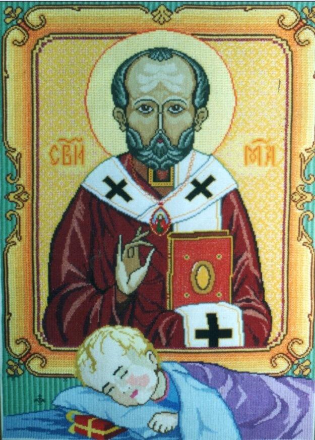 St.Nikolas, embroidery by Yaroslav Pstrak, W Ukraine