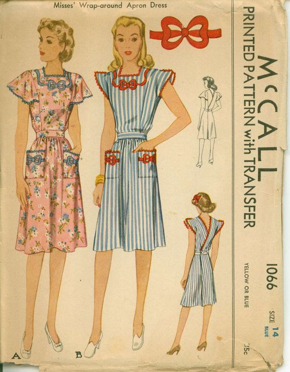 1943 McCall Wrap Around Apron Dress with Transfer McCall 1066  UNCUT  Bust 32
