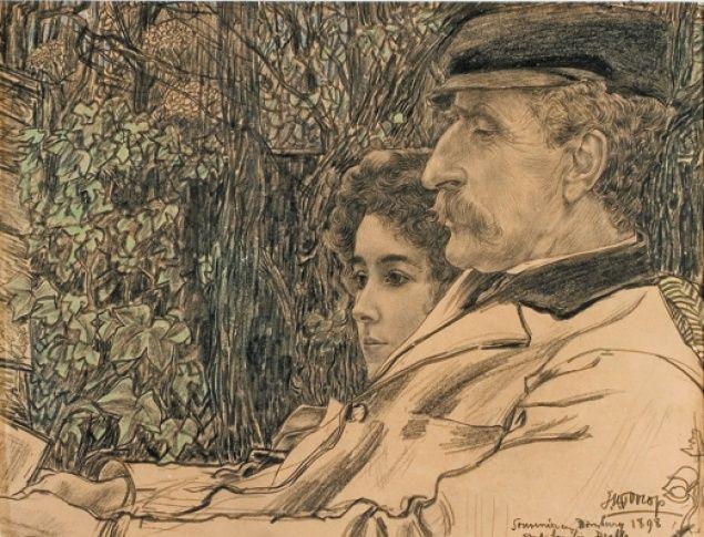 Jan Toorop, Johan en Mies Drabbe in de tuin te Domburg, 1898, zwart krijt met potlood en pastel coll., H.F. Elout. Foto particuliere collectie.