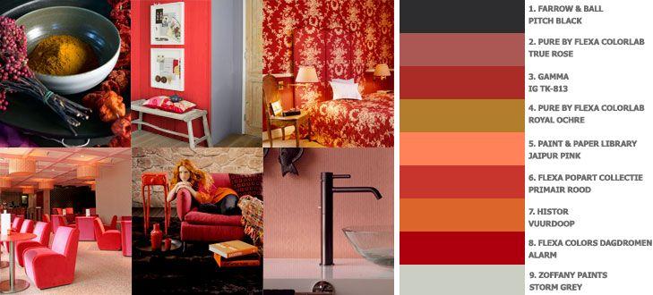 Een palet met prachtige roodtinten, die vooral in combinatie met elkaar tot hun recht komen.