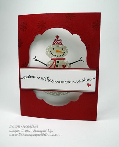 Label-Window-Snowy-Day - love the idea of creating the window using the framelit and stamping the inside of the card to show through.  Adorable with the snowman.