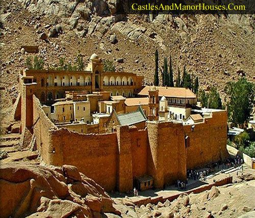 Saint Catherine's Monastery South Sinai Governorate, Sinai Peninsula, Egypt.... www.castlesandmanorhouses.com .... Built between 548 and 565, the monastery is one of the oldest working Christian monasteries in the world. It contains the world's oldest continually operating library. Until relatively recently it had no external gateways at all. Entry and exit was effected by hoisting people and supplies up the external walls.