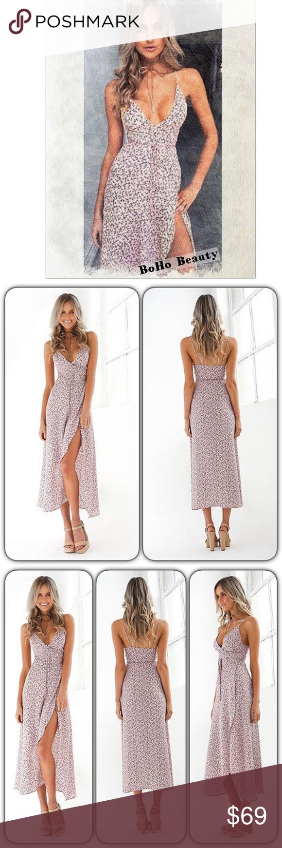 """BOHOBEAUTY/Strappy tiewaist/vintagefloral dress  Just Arrived/BOHO BEAUTY/Strapy cris-cross Spaghetti Straps/Assymetrical Hemline/Polyester/in the most femnine,flirty,floral print,with an adjustable tie-waist close. Go as daringly bare as U like? This beauty is perfect 4 the hot Summer months we're having! Ur wrapped in a pale pink floral garden, U can pair with sandals,tennieshoes,or heels? Change up the look with Ur mood!  No matter what Ur the""""Center""""of attention & all eyes R on U…"""