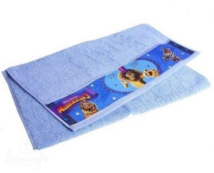 Купить полотенце детское с бордюром МАДАГАСКАР Алекс голубое 50х90 от производителя Непоседа (Россия)