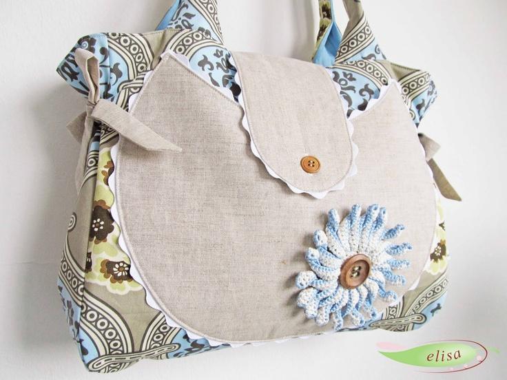 fabric with beautiful crochet flower elisadesign: Schönes aus Stoff + crochet flower