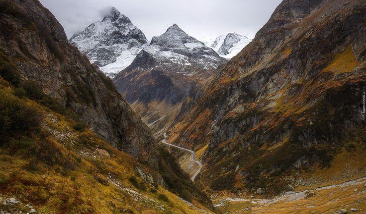 Góry, Szczyty, Jesień, Trawa, Droga