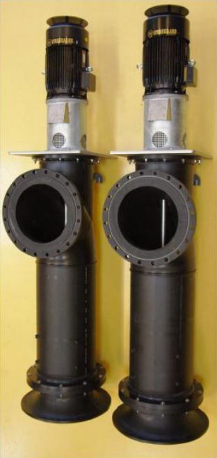 Low head vertical propeller pump for seawater applications from Lykkegaard A/S. Available in HDPE.