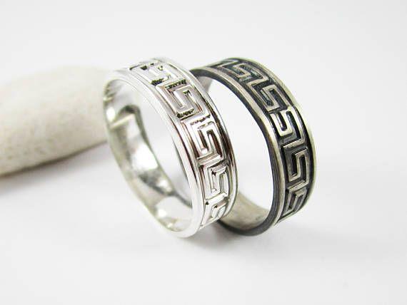 Greek Key Ring 1 5 mm .925 Sterling Silver Band Greek Key