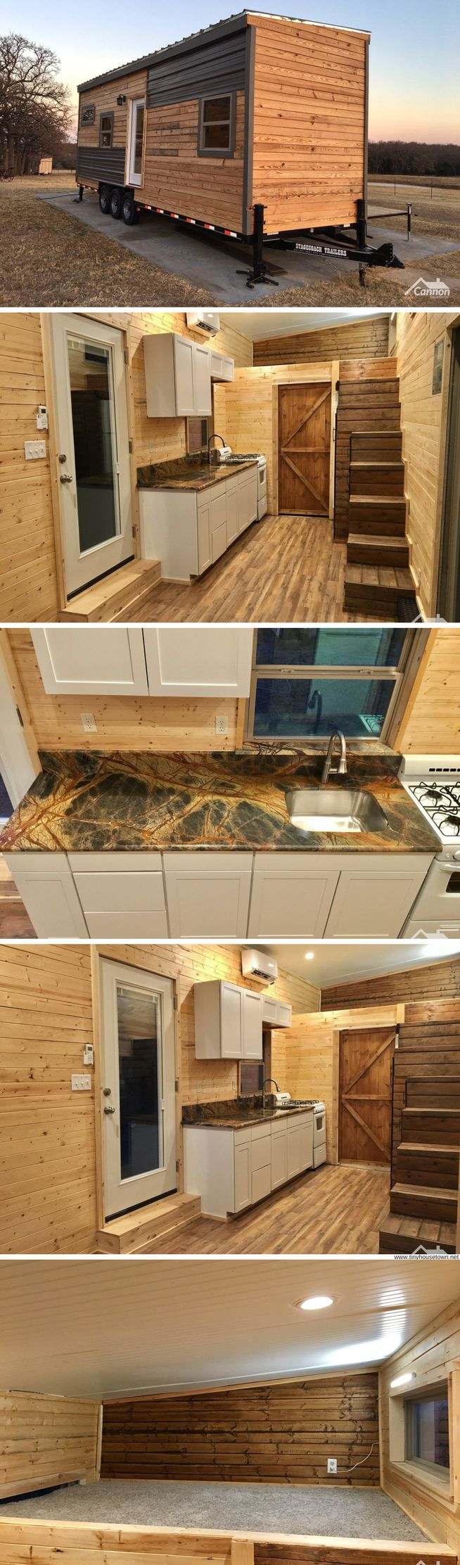Gorgeous modern/rustic tiny house on wheels built by Cannon Properties #tinyhomeonwheelsplans