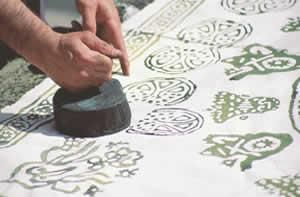 """Hand Printed Textiles~ 'Yazma' is the name given to the application of designs to textiles either directly with a brush called """"kalem"""", or using a wooden mold carved in relief. The major centers for this art in the Ottoman period were Amasra, Bartin, Diyarbakir, Gaziantep, Hatay, Istanbul, Kastamonu, Tokat, Yozgat and Zile. The specimens from Istanbul rose to prominence with its hand-painted 'Kandilli' textiles, highly prized for their artistry, in the 17th, 18th and 19th centuries."""
