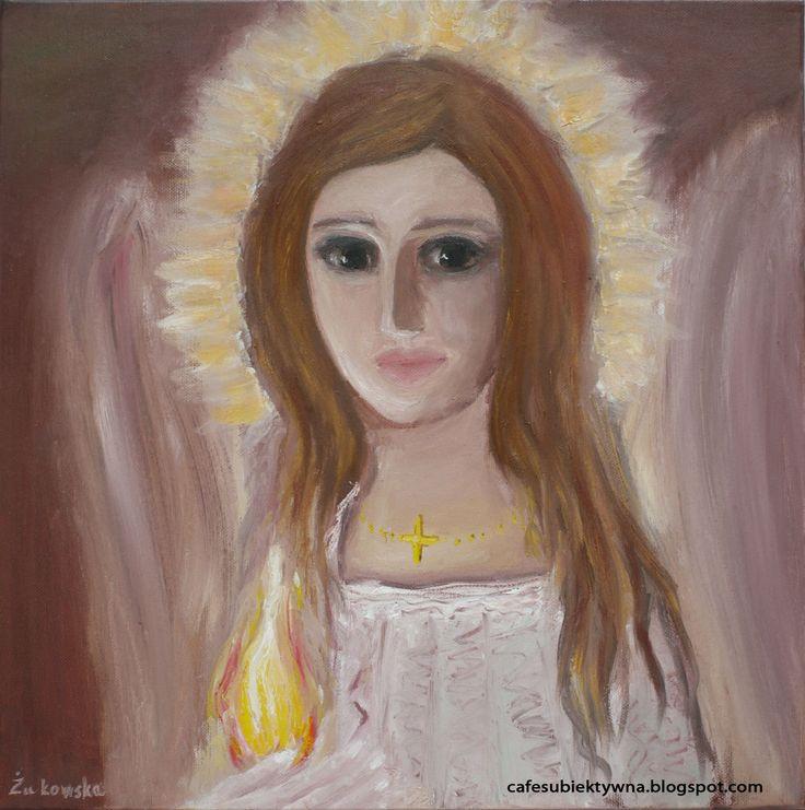 Angel Holding Light. Oil on canvas. Żukowska