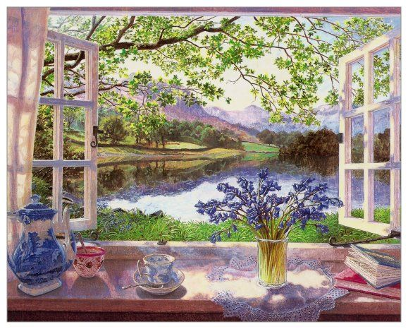 I like paintings of window views.  This one is by Stephen Darbishire.