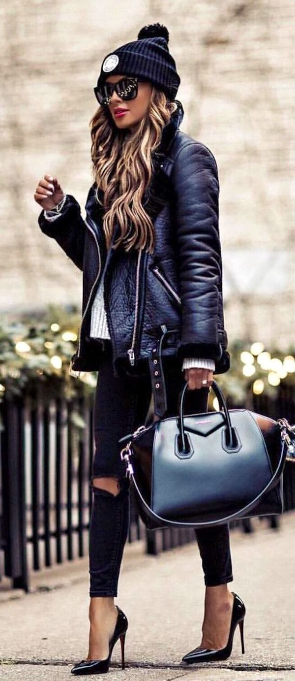 #winter #outfits  black leather zip-up jacket, distressed black fitted pants, and pair of black stiletto shoes outfit