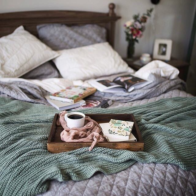 Cozy rainy mornings call for an extra cup and breakfast in bed.