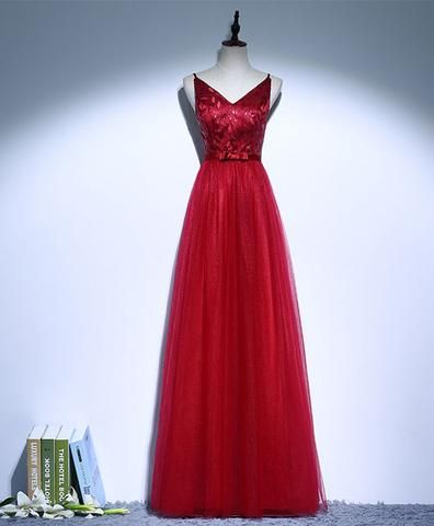 cb903c19cde5 Red v neck lace tulle long prom dress