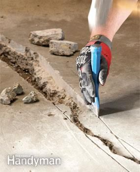 Fix the crack in your concrete garage or basement floor yourself by following these step-by-step directions.