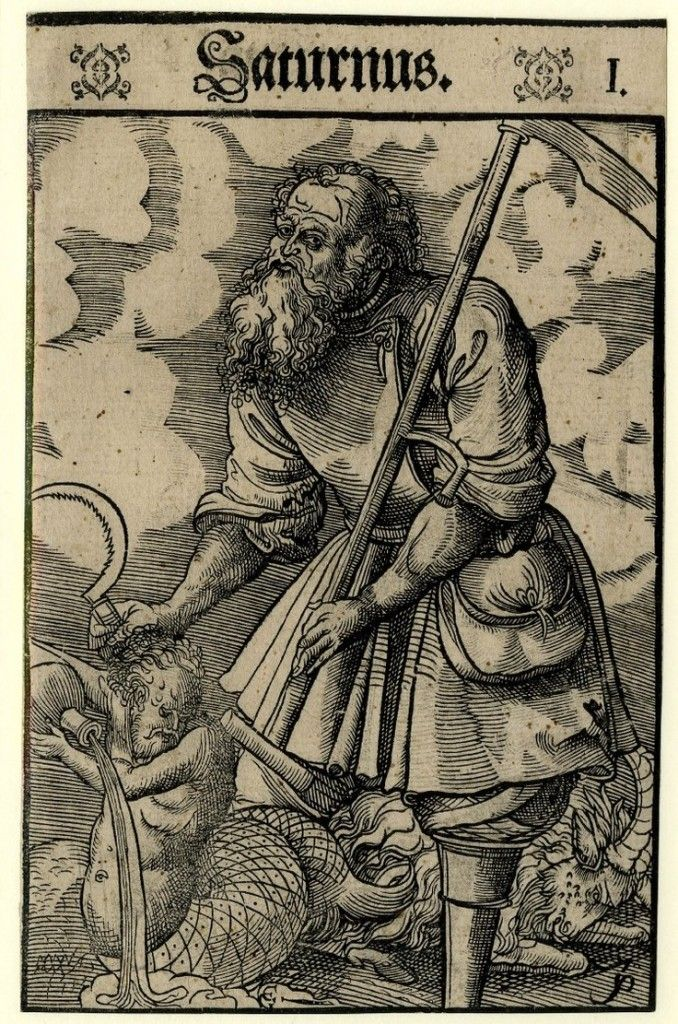 O planeta Saturno é retratado como o deus romano Saturno, segurando seus atributos simbólicos, uma foice e outra foice; à esquerda, um meio-humano, meio-peixe figura derramando água de um navio, que representa o signo zodiacal de Aquário e um bode representando Capricórnio (os sinais são regidos por Saturno), a partir de uma série de sete xilogravuras na escola / estilo de Lucas Cranach, o Jovem, 1550-1570. (Museu Britânico)