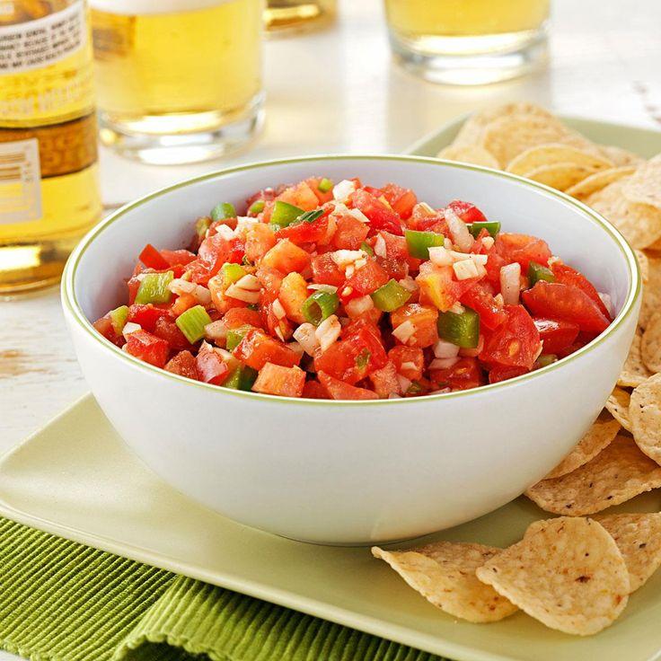 Garden Salsa Recipe -In this recipe, ripe garden ingredients and subtle seasonings make a mouthwatering salsa that's a real summer treat. —Michelle Beran, Caflin, Kansas