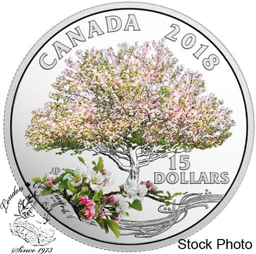 London Coin Centre Inc. - Canada: 2018 $15 Celebration of Spring: Apple Blossoms - Pure Silver Coin, $69.95 (http://www.londoncoincentreinc.com/canada-2018-15-celebration-of-spring-apple-blossoms-pure-silver-coin/)