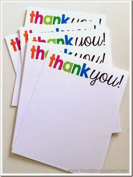 love love these simple   colorful thank you notes  www.doodlebugspaper.com