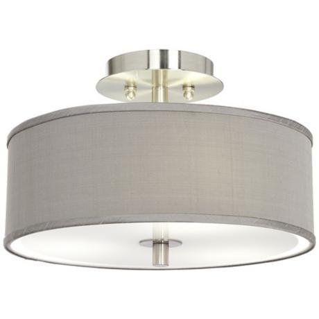 "Gray Textured Silk 14"" Wide Ceiling Light - #T6396-X7022   LampsPlus.com"