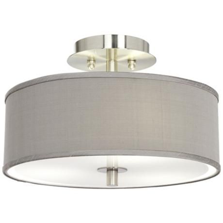 "New light fixture for our hallway. Gray Textured Silk 14"" Wide Ceiling Light"