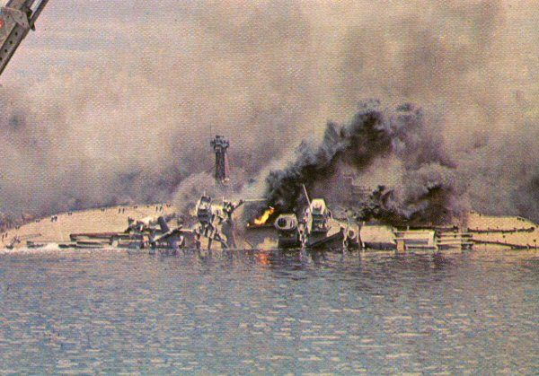 Tora! Tora! Tora! - During the filming of the attack on Battleship Row, the model of the USS Oklahoma burns and capsizes.