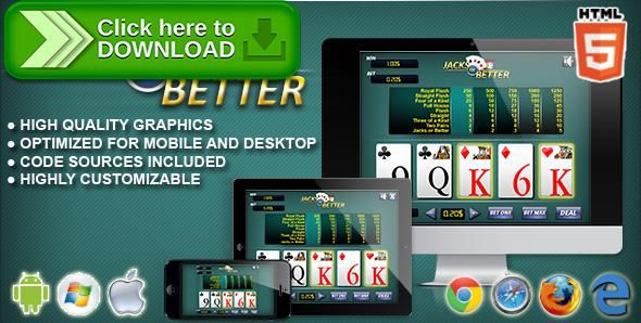 [ThemeForest]Free nulled download Video Poker Jacks or Better - HTML5 Casino Game from http://zippyfile.download/f.php?id=56738 Tags: ecommerce, blackjack, bonus poker, card games, casino, casino games, deuces wild, double bonus, gambling games, jacks or better, joker's wild, poker, slot, Tens or better, videopoker
