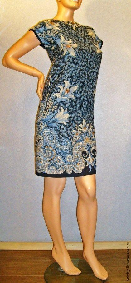 """Платье-туника """"Морозко"""" - тёмно-синий,цветочный,платье из платков,платье-туника"""