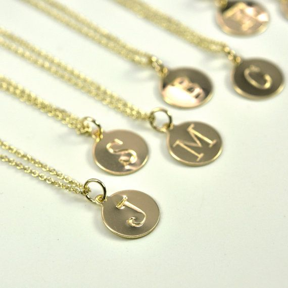 Gold Letter Necklace, Stamped Initial in 14K Yellow Gold fill disc, Personalized, Kristin Noel Designs on Etsy, $32.00