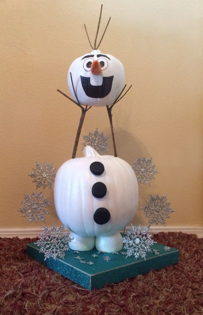 Make an Olaf Pumpkin for a fun Frozen Halloween centerpiece!                                                                                                                                                     More